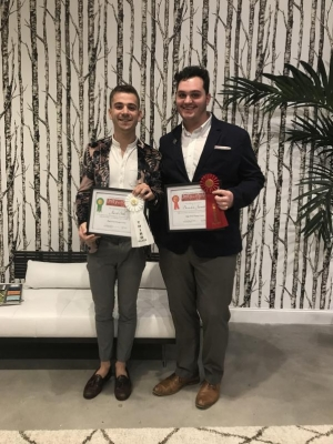 Interior design sophomores Jacob Still (left) and Brandon Jarrett pose with their High Point Design Competition awards. Photo submitted by Jacob Still